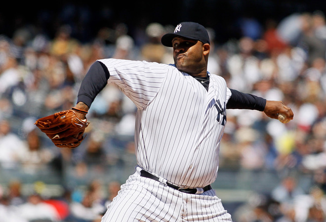 CC Sabathia #52 Of The New York Yankees Pitches