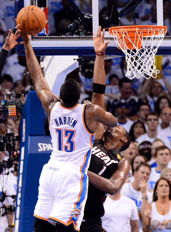 James Harden #13 Of The Oklahoma City Thunder Lays