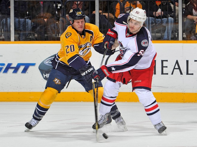 Antoine Vermette #50 Of The Columbus Blue Jackets Fights