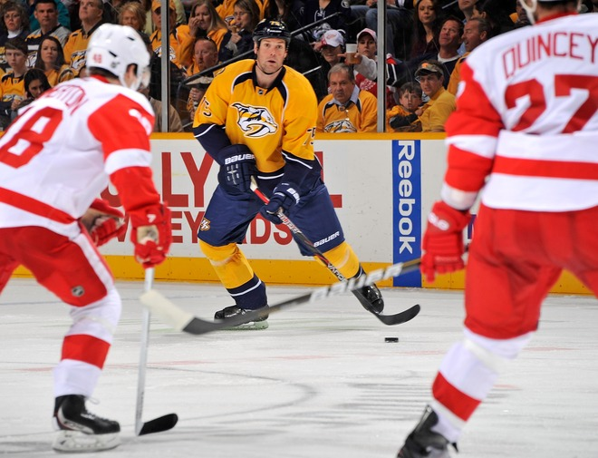Hal Gill #75 Of The Nashville Predators Carries