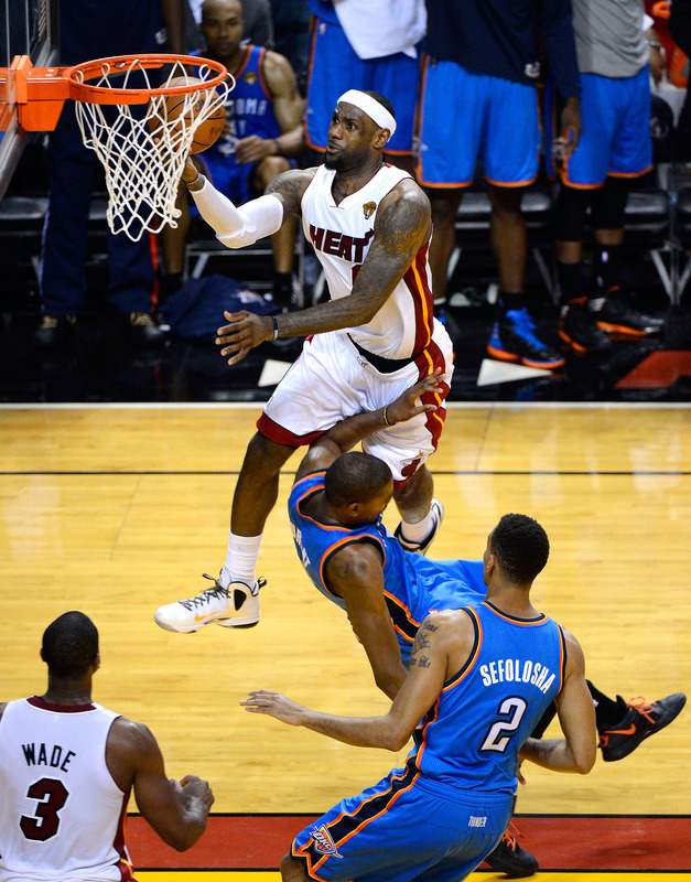 LeBron James #6 Of The Miami Heat Makes