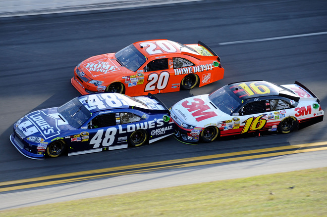 Jimmie Johnson, Driver Of The #48 Lowe's Chevrolet, Joey Logano, Driver Of The #20 The Home Depot Toyota, And Greg