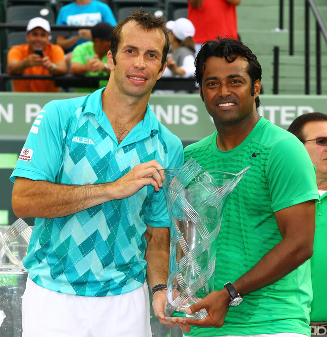 Leander Paes Of India And Radek Stepanek Of The Czech Republic Celebrate Their Win Against Max Mirnyi Of Belarus And
