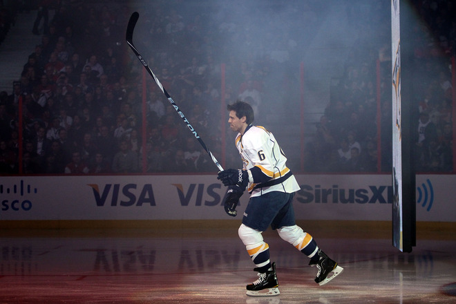 Shea Weber #6 Of The Nashville Predators And Team Alfredsson Is