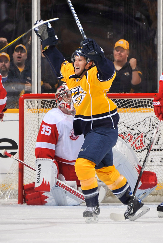 Matt Halischuk #24 Of The Nashville Predators Celebrates