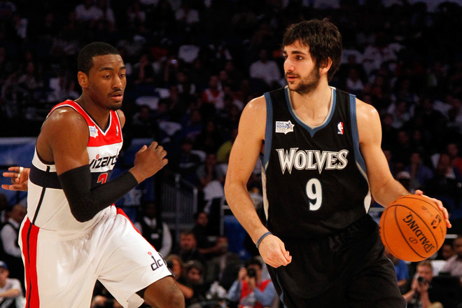 Ricky Rubio #9 Of The Minnesota Timberwolves And Team Shaq Drives Against John Wall #2 Of The Washington Wizards And