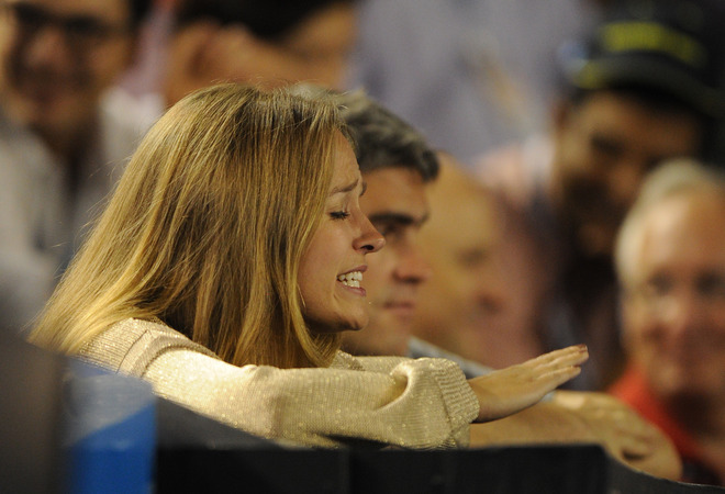 Kim Sears, Girlfriend Of Andy Murray Of Britain Gestures