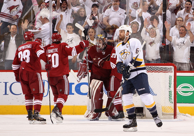 Goaltender Mike Smith #41 Of The Phoenix Coyotes Celebrates