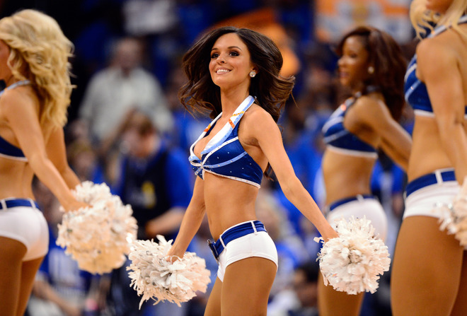An Oklahoma City Thunder Dancer Performs
