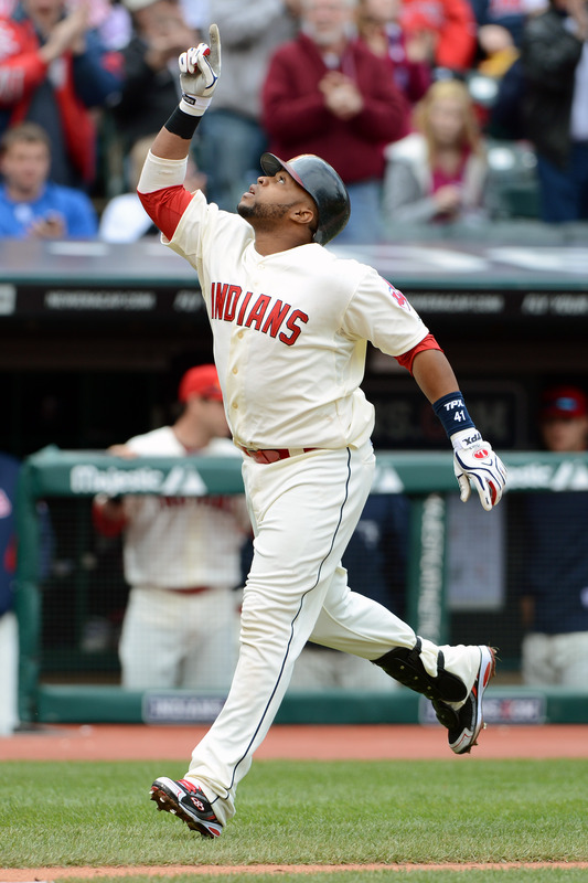 Carlos Santana #41 Of The Cleveland Indians Celebrates