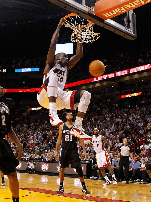 Joel Anthony #50 Of The Miami Heat Dunks