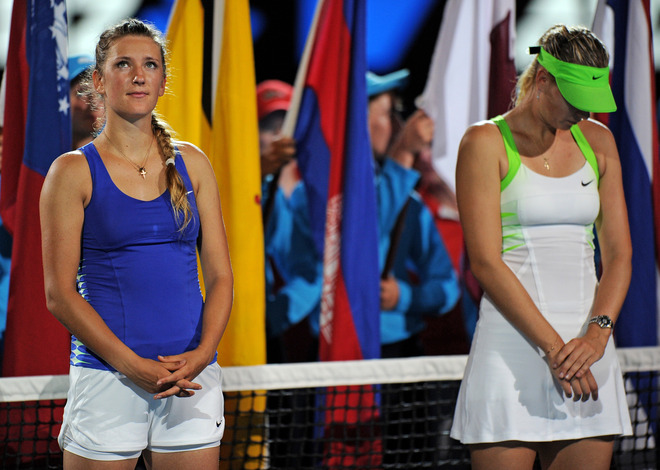 Winner Victoria Azarenka Of Belarus (L) And Runner Up Maria Sharapova Of Russia Wait At The Start Of The Awards