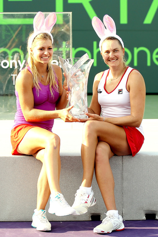 Maria Kirilenko And Nadia Petrova Of Russia Pose For Photographers