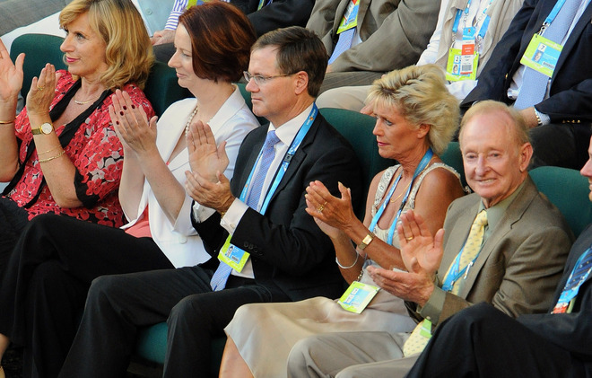Australia's Prime Minister Julia Gillard (2nd L), Partner Tim Mathieson (C) And Australian Tennis