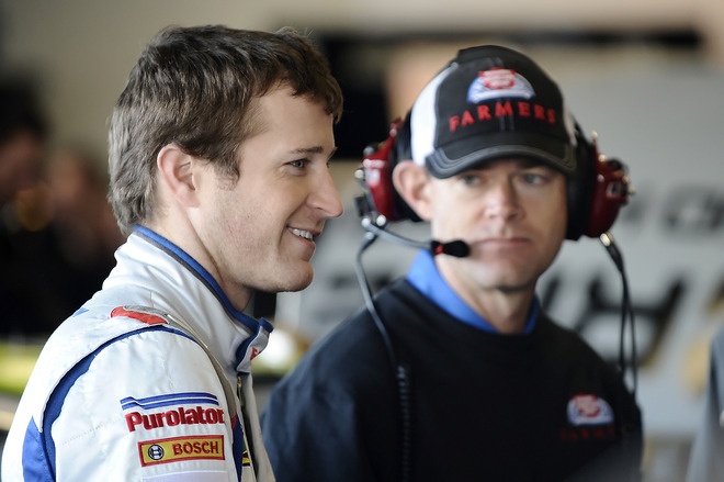 Kasey Kahne(L), Driver Of The #5 Farmer's Insurance Group, And Kenny Francis, Crew Chief Of The #5 Farmer's Insurance