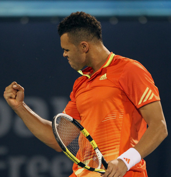 Jo-Wilfried Tsonga Of France Reacts