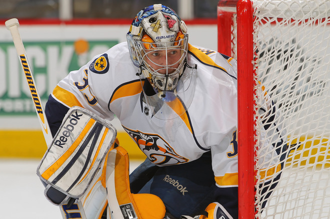 Goalie Pekka Rinne #35 Of The Nashville Predators Defends