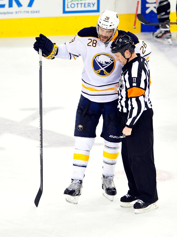 Paul Gaustad #28 Of The Buffalo Sabres Confers