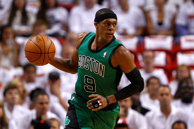 Rajon Rondo #9 Of The Boston Celtics Brings