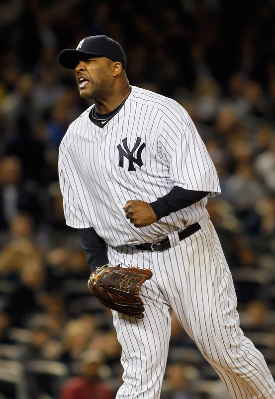 &nbsp; CC Sabathia #52 Of The New York Yankees Reacts