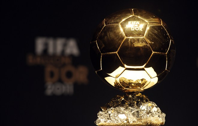 The FIFA Ballon D'Or Trophy Sits