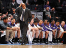 NEW YORK, NY - MARCH 27: Head coach Lorenzo Romar of the Washington Huskies reacts during the final minutes of overtime during his teams game against the Minnesota Golden Golphers during the semifinals of the NIT men's basketball championship at Madison Square Garden on March 27, 2012 in New York City. (Photo by Jason Szenes/Getty Images)