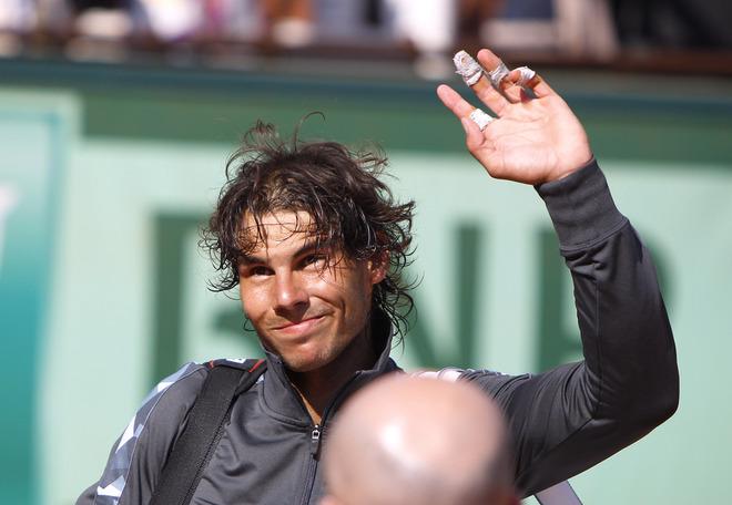 Spain's Rafael Nadal Waves