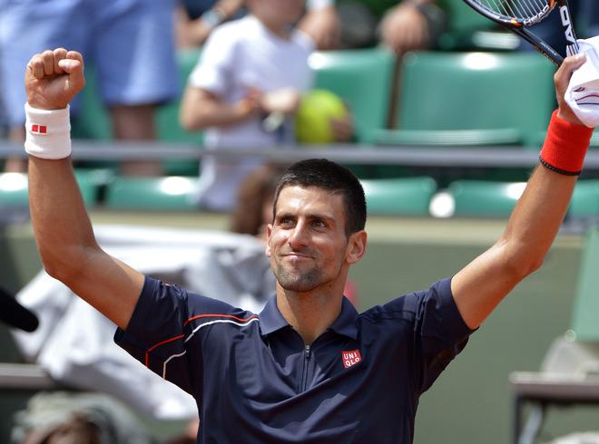 Serbia's Novak Djokovic Celebrates