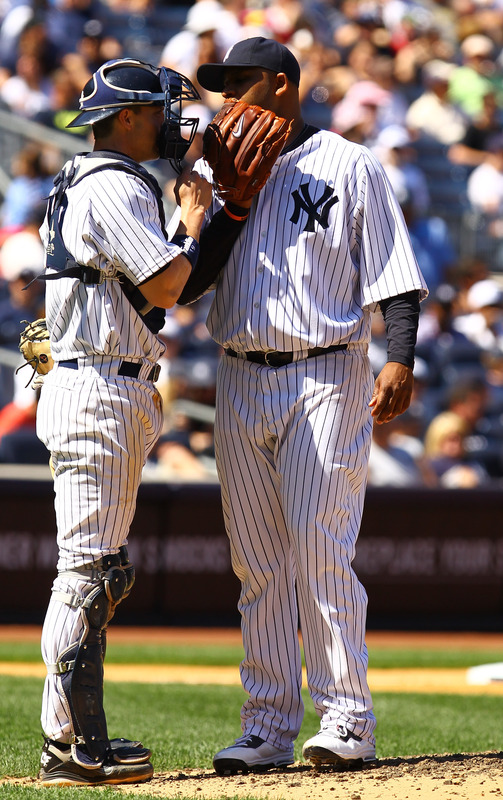 CC Sabathia #52 Of The New York Yankees Talks