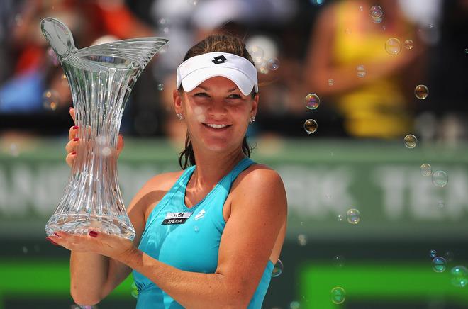 Agnieszka Radwanska Of Poland Celebrates