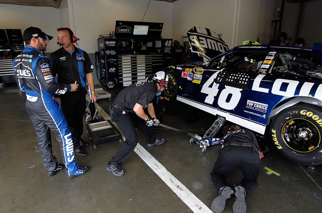 Jimmie Johnson (L) Talks