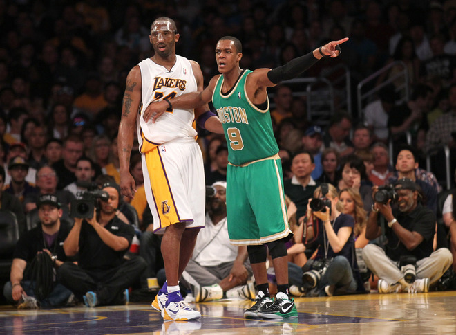 Rajon Rondo #9 Of The Boston Celtics Signals