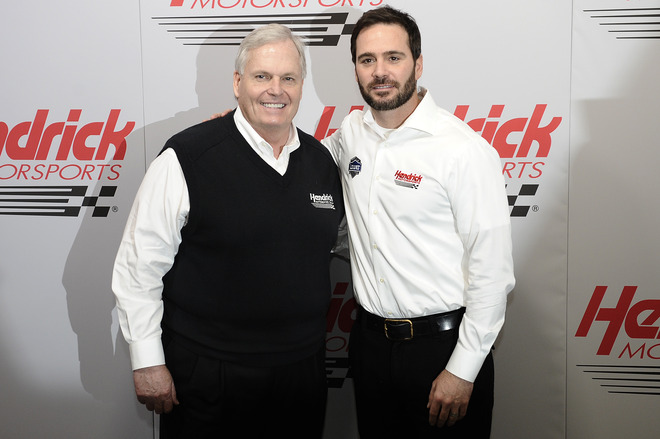 Rick Hendrick(R), Owner Of Hendrick Motorsports, And Jimmie Johnson, Driver Of The #48 Lowe's/Kobalt Tools Chevrolet,