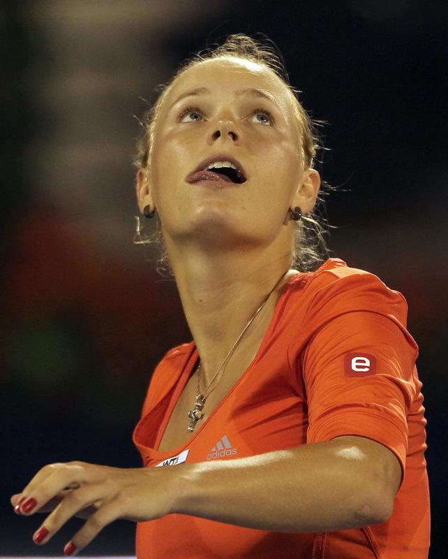 Denmark's Caroline Wozniacki  Celebrates