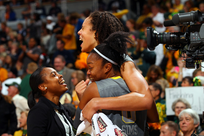 Brittney Griner #42 And Odyssey Sims #0 Of The Baylor Bears Celebrate In The Final Seconds Of Their 80-61 Win Against