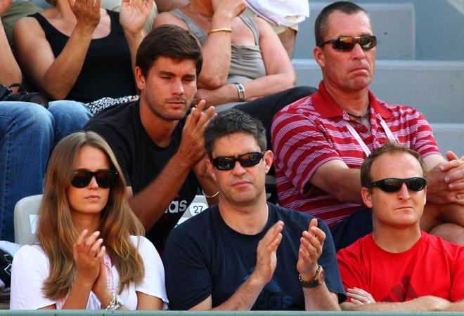 (L-R Top) Andy Murray's Hitting Partner Danny Valverdu And Coach Ivan Lendle, Kim Sears (bottom L) And Matt Little (