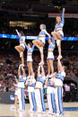 ST. LOUIS, MO - MARCH 23: Cheerleaders for the North Carolina Tar Heels perform against the Ohio Bobcats during the 2012 NCAA Men's Basketball Midwest Regional Semifinal at Edward Jones Dome on March 23, 2012 in St. Louis, Missouri. (Photo by Andy Lyons/Getty Images)