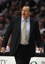 CHICAGO, IL - FEBRUARY 28: Head coach Tom Thibodeau of the Chicago Bulls gives instructions to his team during a game against the New Orleans Hornets at the United Center on February 28, 2012 in Chicago, Illinois. NOTE TO USER: User expressly acknowledges and agrees that, by downloading and or using this photograph, User is consenting to the terms and conditions of the Getty Images License Agreement. (Photo by Jonathan Daniel/Getty Images)