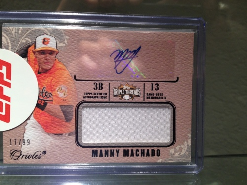 2014 Topps Triple Threads Manny Machado Autographed Card