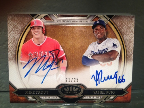 Mike Trout Yasiel Puig  2015 Topps Tier One Dual  Autographed Card