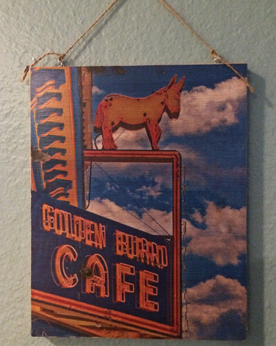 Golden Burro on Wood