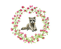 Baby Raccoon with Clover Ring-8x8