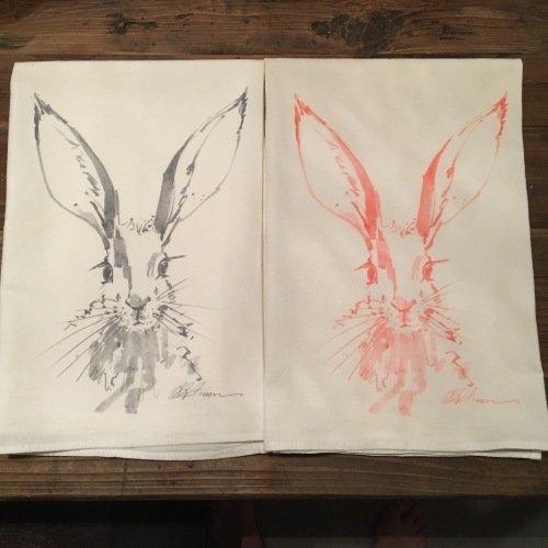 Bunny Rabbit Tea Towel-Peachy/Pink