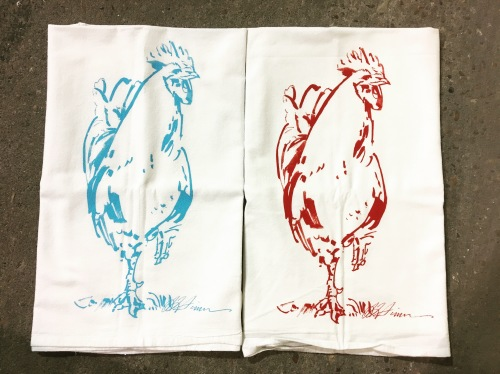 Rooster Strut Flour Sack Tea Towel-Red