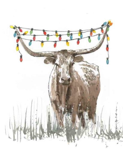 Longhorn Holiday Lights 5x7 Holiday Greeting Card-Premium Paper