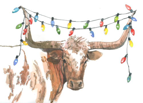 Longhorn Holiday Lights 2 5x7 Holiday Greeting Card-Premium Paper