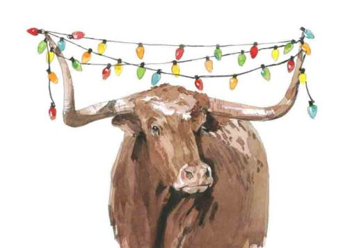 Longhorn Holiday Lights 3 5x7 Holiday Card-Premium Paper