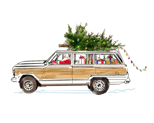 White Jeep Wagoneer Holiday-8x10 Wood Transfer-No Copy