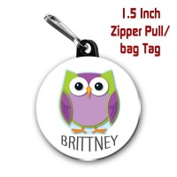 Personalized Owl 1.5 Inch Zipper Pull/Bag Tag