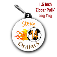 Personalized Soccer Zipper Pull/Bag Tag